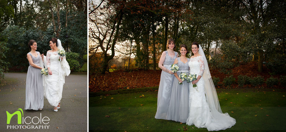 bridesmaids and bride gardens at west tower