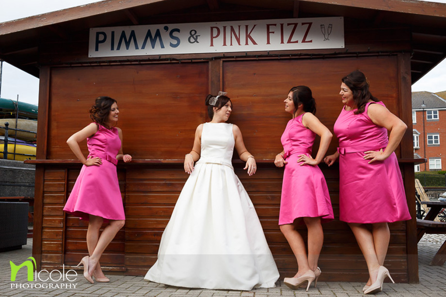 bride and bridesmaids pimms and pin fizz