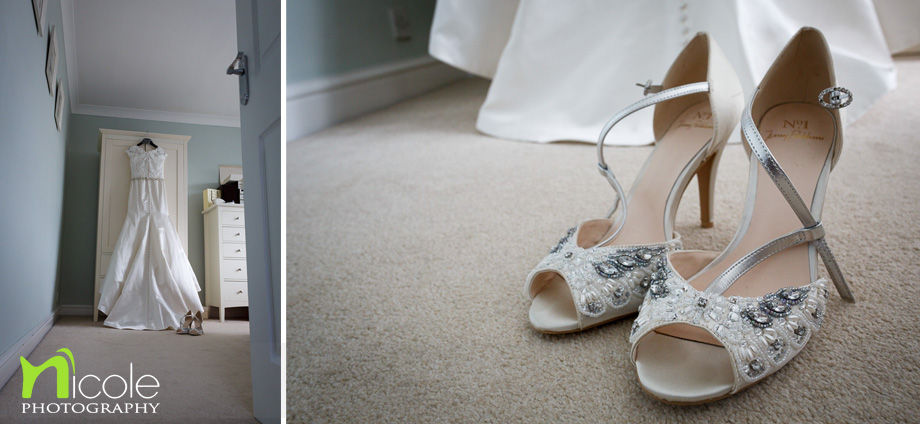brides dress wedding shoes