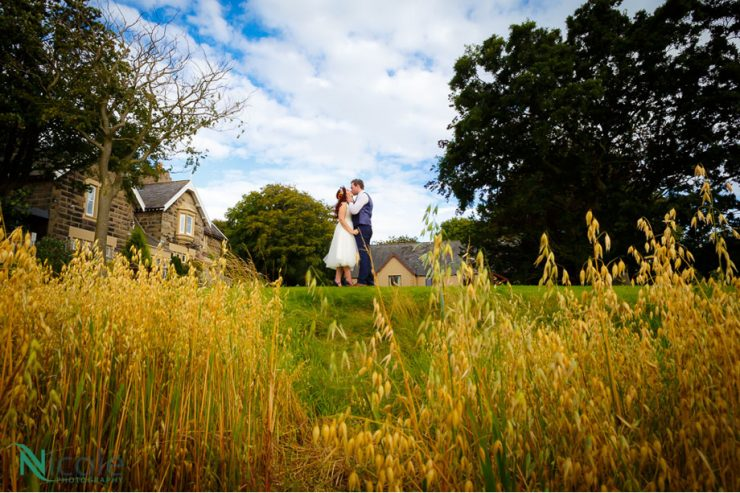 Couple West Tower cornfields, lancashire wedding photography