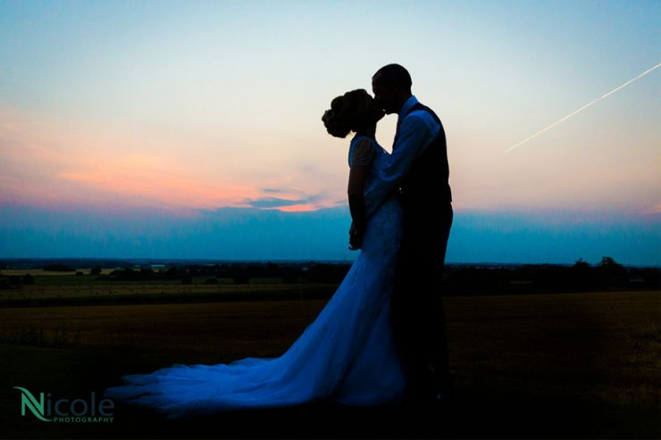 Couple, sunset, west tower, Lancashire wedding photography