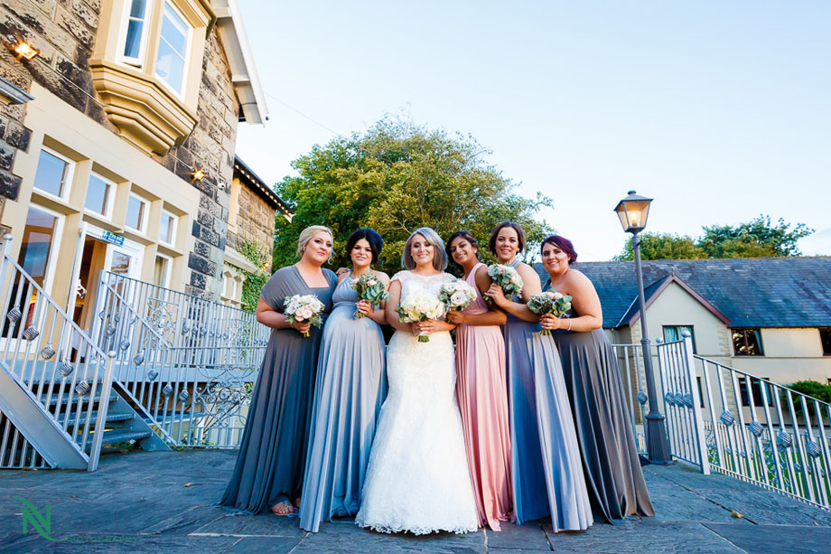 bride, bridesmaids, west tower - Lancashire wedding photography